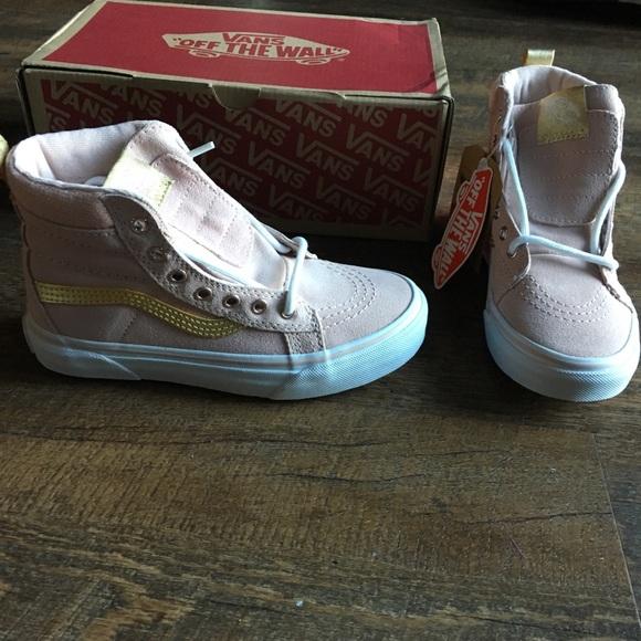 6e3aa152a3 New Vans Sk8 Hi MTE Pink Gold Sneakers